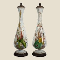 """Pair William IV Bristol/opaline glass botanical painted vases as lamps, 15.75"""" x 5.5"""""""