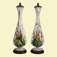 "Pair William IV Bristol/opaline glass botanical painted vases as lamps, 15.75"" x 5.5"""