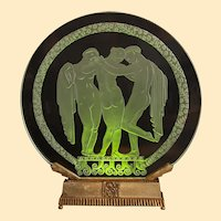 """Art Deco Etched/Illuminated Disc Lamp, 17"""" x 18"""" x 1"""" thick"""