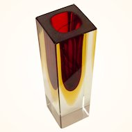 Murano Red & Gold Art Glass Bud Vase