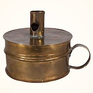 An American c. 1850  Brass Tinder Box With Candlestick Holder