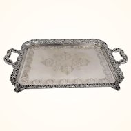 Vintage Portuguese Baroque Style Two-Handled Silver Tray