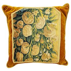 16th c. Flemish tapestry fragment pillow