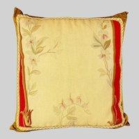 "Antique Aubuson tapestry fragment throw pillow - 18"" x 18"" x 3 """