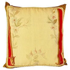 "Antique Aubuson tapestry fragment throw pillow - 18"" x 18"" x 3 """