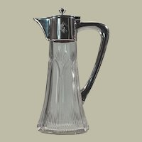 Austro-Hungarian Silver & Glass Covered Pitcher