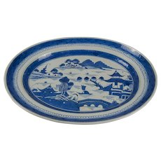 Monumental Canton Chinese Export Platter, Blue and White