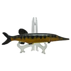 """""""Pickerel"""" wood carved, painted fish model -4 1/4"""" x 18"""" x 2 1/2"""""""