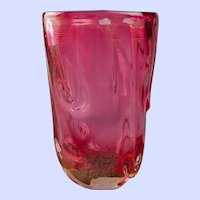 "Barovier Pink and Gold Fleck Vase -  10"" x 6"" x 6"""