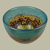American Art Glass Bowl With Poppies