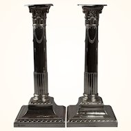 A Pair of English Sterling Weighted Candlesticks