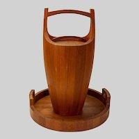 "Danish Mid-century Teak Ice Bucket & Tray, Jens Quistgaard, 18""x16"""