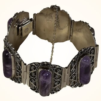 Amethyst and Mexican Taxco Sterling Silver Bracelet