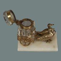 "Antique miniature goose drawn inkwell - 2.75"" x 3.25"" x 2.25"""