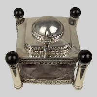 English or Colonial Sterling Silver and Glass Inkwell Formed as Minaret c.1900
