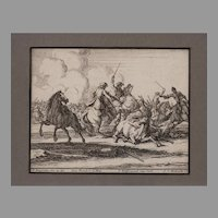 Geo. Phillip Rugendas Etching of a Battle 1710