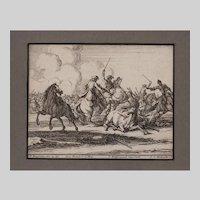 Geo. Phillip Rugendas Etching of a Battle 1710