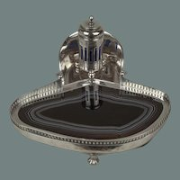 A Danish Sterling and Agate Inkwell 1893-1913