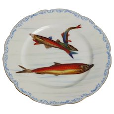 Limoges Porcelain Painted Fish Plate