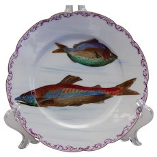 Antique Limoges Hand-painted Fishplate