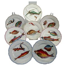 "Eight Limoges fish and sea creature plates c. 1900, 9 1/2"" diameter"