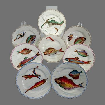 Eight Limoges fish and sea creature plates c. 1900