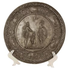 A pewter marriage plate celebrating the union of Henry IV and Marie de Medici