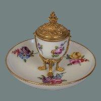 Sevres Floral Porcelain Inkwell-18th c.