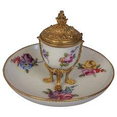 Sevres Floral Porcelain Inkwell-18th c.