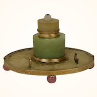 Chinese Carved Jade and/or Serpentine and gilt inkwell c. 1890