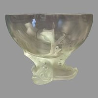 "Lalique Dolphin-footed Center Bowl 6"" x 7 3/4"""