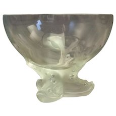 """Lalique Dolphin-footed Center Bowl 6"""" x 7 3/4"""""""