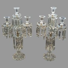 Pair English Georgian Cut Glass Girandoles - 22x12x12