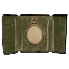 Antique French Stamped Brass Oval Picture Frame in Fitted Case