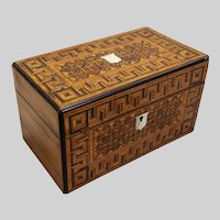 "English Regency marquetry box 5 1/4"" x 9 1/4"" x 5 1/4"""