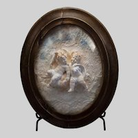 """Pair antique putti under glass, c. 1890, 17""""x14"""""""