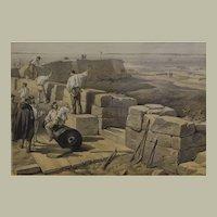 "Four antique lithographs of British Crimean War - about 12""x22"""
