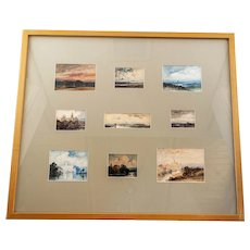 """Nine English Scenes & Landscapes in Watercolor, Frame: 25""""x28""""x1.75"""""""