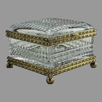 "Large French Cut Glass Jewel Casket, 7""x7""x5"""
