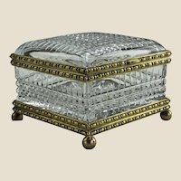 "Large French Cut Glass Jewel Casket, 7""x7""x5"""