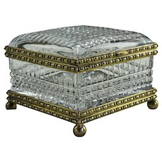 Large French Cut Glass Jewel Casket
