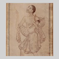 Mughal India Drawing of a Holy Man 17th-18th  c.