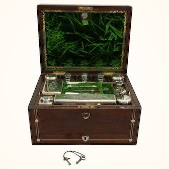 Antique Victorian Inlaid Mahogany Dresser Case