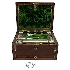 "Victorian Mahogany Man's Dressing Case  7"" x 12"" x 9"""