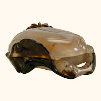 """Chinese agate carved covered box - 3 ¼"""" x 2 ½"""" x 1 ½"""""""