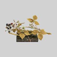 "Paperweight, Gilt Bronze with Ceramic Raspberries, 14""x6"""