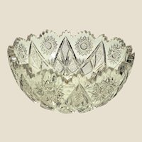 "An American Brilliant Period Cut Glass Bowl c. 1880 -  9"" x 4"""
