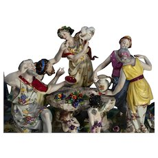 """Naples figural group of a bacchanal 19th century- 8"""" x 22"""" x 7"""""""