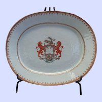"Chinese Export Armorial Platter - 11"" x 13 1/2"" x 1 3/4"""