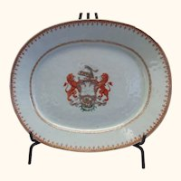 """Chinese Export Armorial Platter - 11"""" x 13 1/2"""" x 1 3/4"""""""